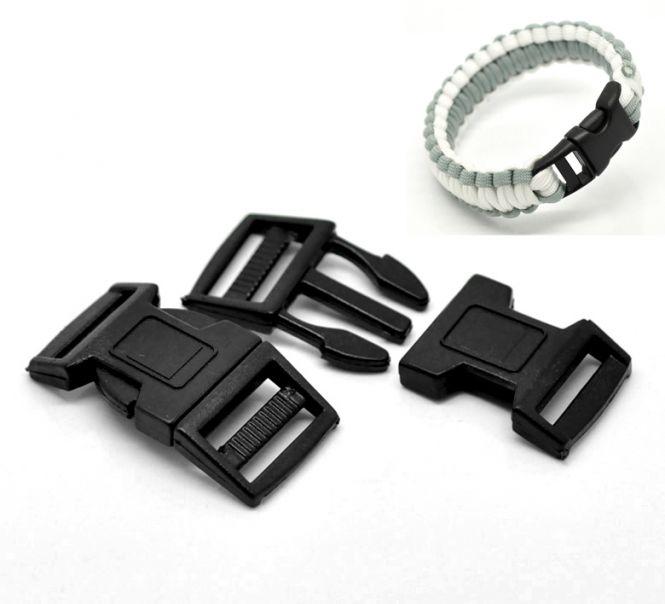 Lås til faldskærmsline sort plastic 5,1x2,6 cm