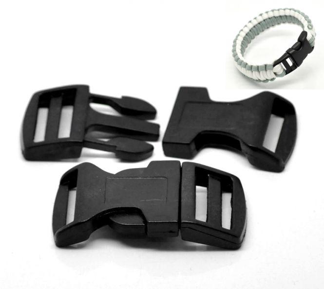 Lås til faldskærmsline sort plastic 7x3,2 cm