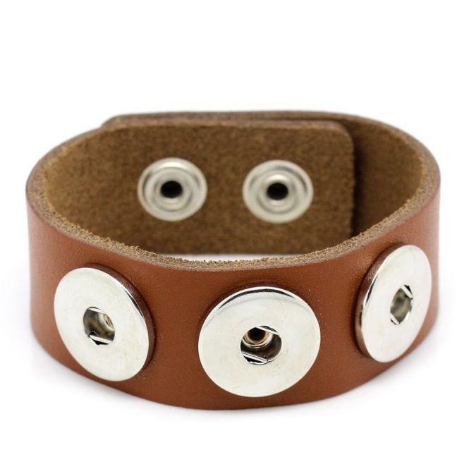 Læderarmbånd med tryklås brun