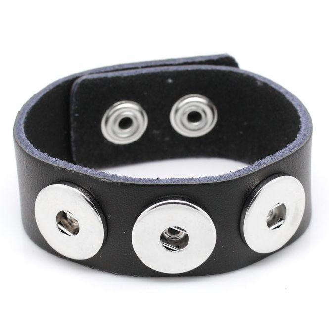 Læderarmbånd med tryklås sort