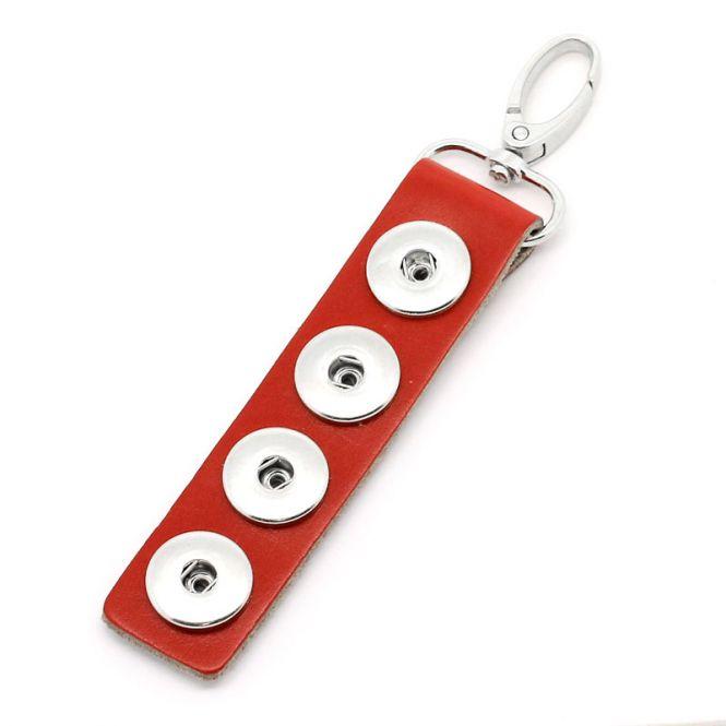 Nøglering til pynteknapper med tryklås Rød