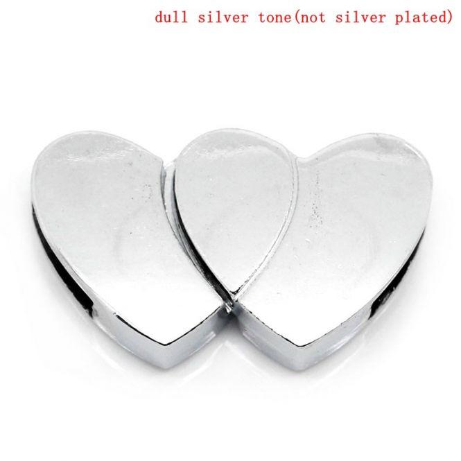 Magnet lås platin farvet hjerte OBS.Ny kvalitet