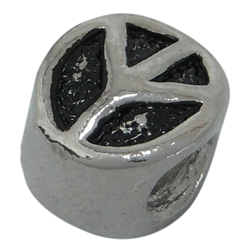 Metalperle antik sølv - 10 stk