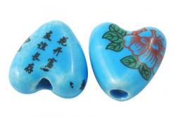Porcelæns perlehjerte håndlavet blå