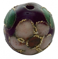 Cloisonne perler 10 m/m lilla