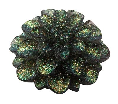 Acryl rose 12 mm sort m.glitter 10 stk