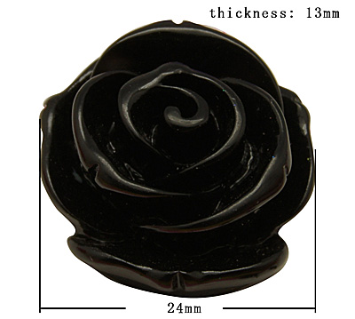 Acryl rose 24 mm sort