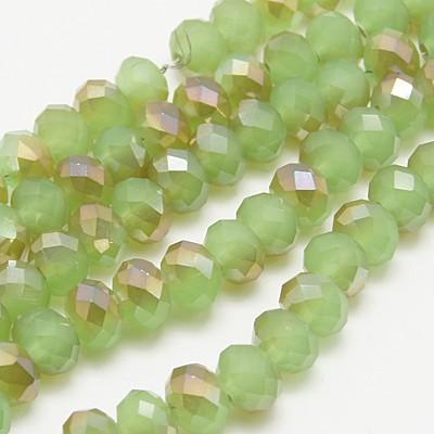 Glasperler 4x3 mm Halvplated grøn