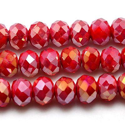 Glasperler 4x3 mm Crimson rød AB