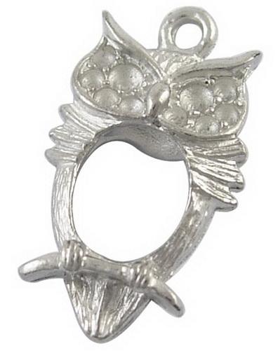 Vedhæng Ugle antik sølvfarve 13 x 23,5 mm