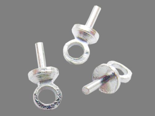 Skrue til halvborede perler sølv farve 10 stk
