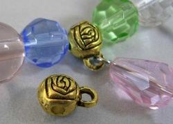 Tibetanske sølv perler guldfarve med loop 10 stk