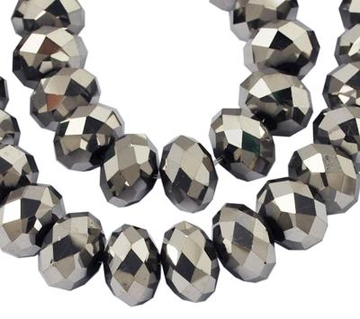 Glasperler 8x6 mm sølv