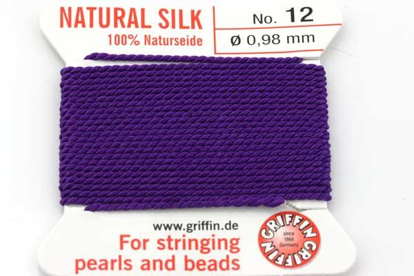 Ægte silketråd 0,98 mm Lilla med nål