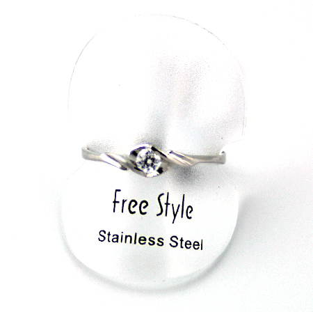 Fingerring rustfri stål med sten