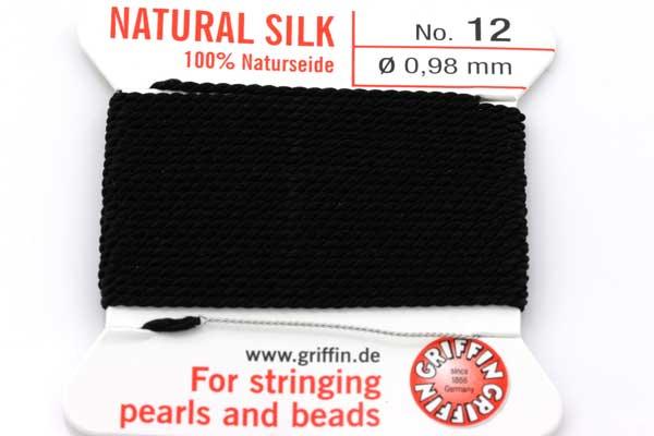Ægte silketråd 0,98 mm Sort med nål