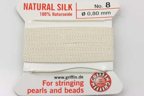 Ægte silketråd 0,80 mm Hvid med nål