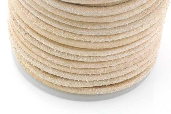 Lædersnøre natur/beige 4 mm rå uden voks