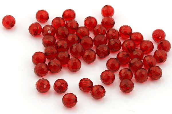 Acryl perler facetterede rød 8mm - 50 stk