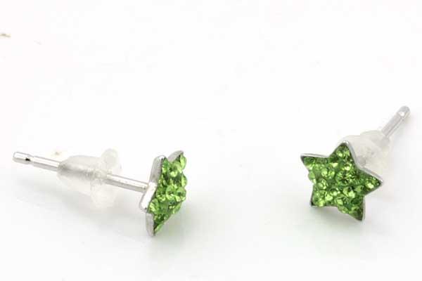 Ørestikker i sterling sølv med grønne stjerner