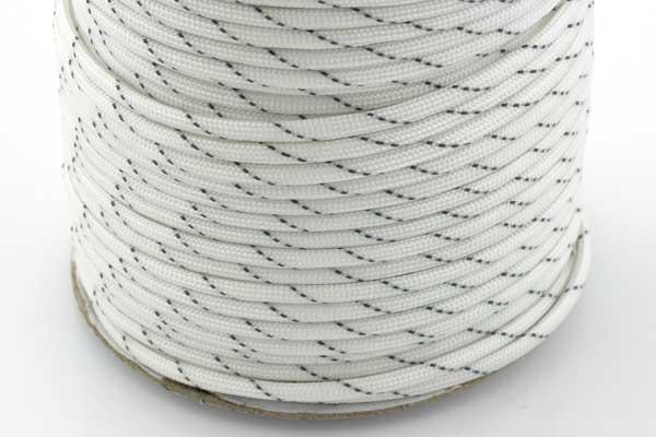 Faldskærmsline 4 mm Hvid refleks