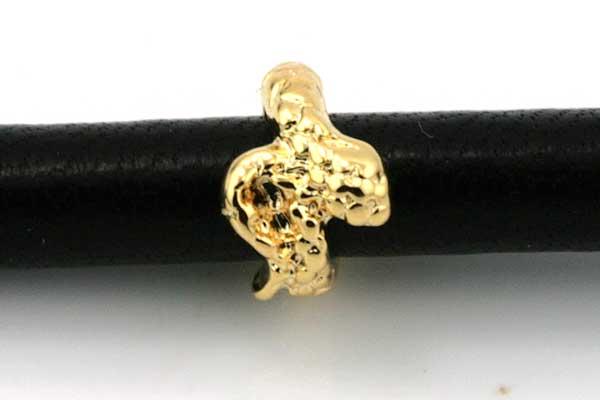 Charms til 6 mm snøre guldbelagt slange