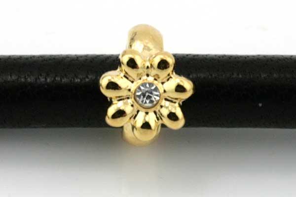 Charms til 6 mm snøre guldbelagt blomst med rhinsten