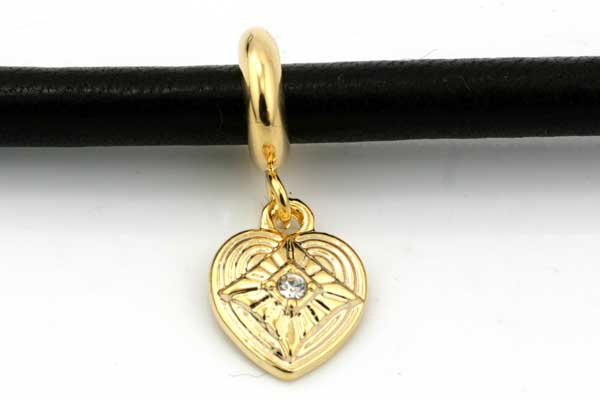 Charms til 6 mm snøre guldbelagt hjerte med rhinsten