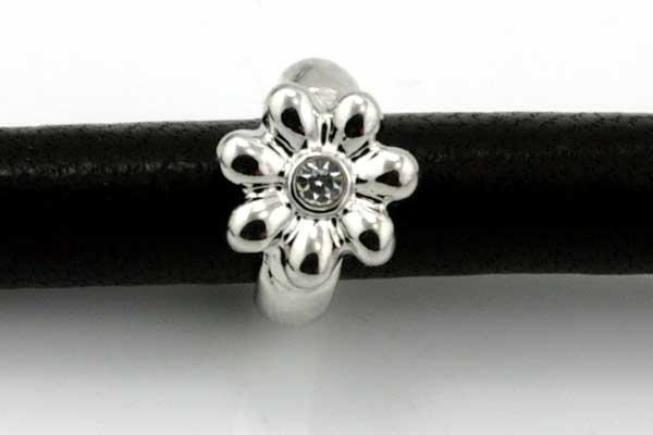 Charms til 6 mm snøre sølvbelagt med blomst og rhinsten