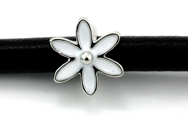 Charms til 6 mm snøre sølvbelagt blomst