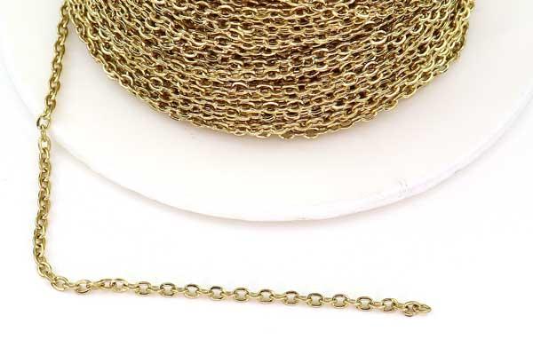 Rustfri stål kæde Guldfarve 2 x 1,5 mm