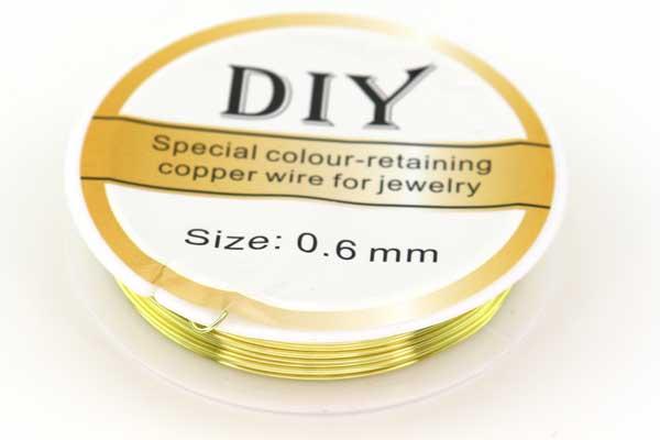 Smykkewire kobber Lys Guld farvet 0,6 mm 5 mtr