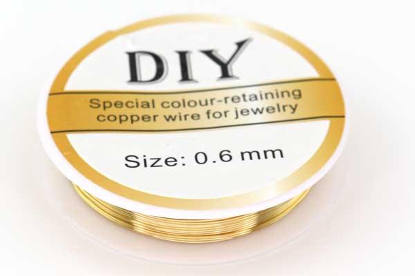 Smykkewire kobber Guld farvet 0,6 mm 5 mtr