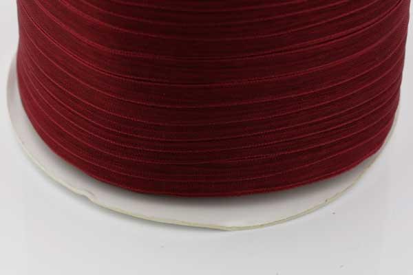 Organza bånd Mørk Rød 6 mm Hel Rulle