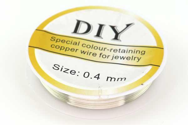 Smykkewire kobber Sølv farvet 0,4 mm 10 mtr