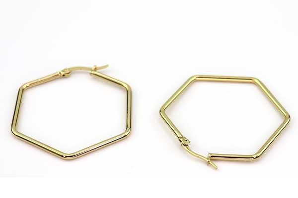 Creol ørering Hexagon rustfri stål guld