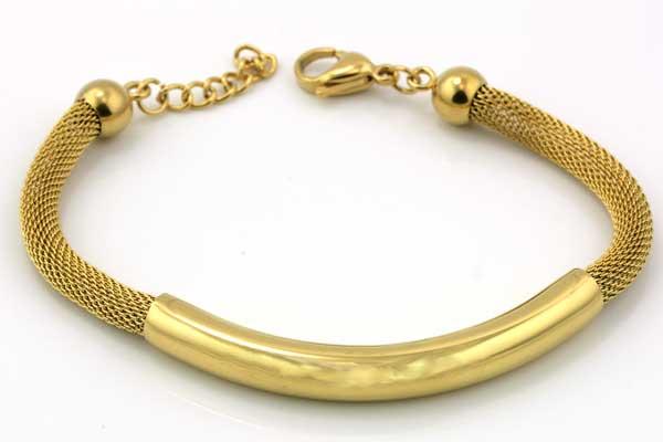 Armbånd rustfri stål ca.18 cm Guld