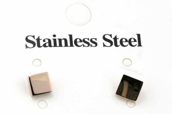 Rustfri stål ørestik kube 5 mm - Rose Guld