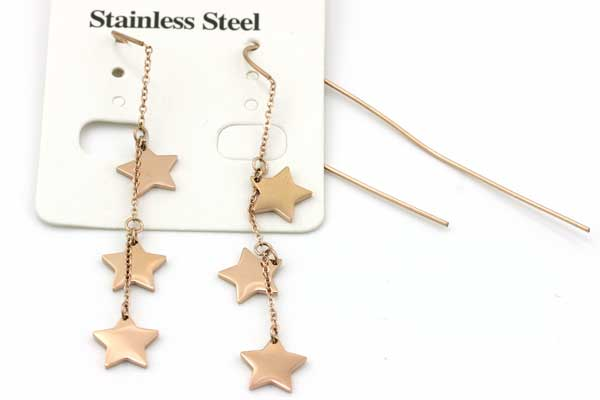 Rustfri stål ørehænger med stjerner Rose Guld