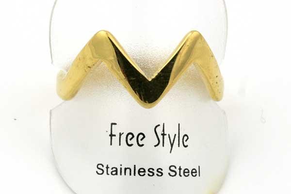 Fingerring rustfri stål  V shape Guld