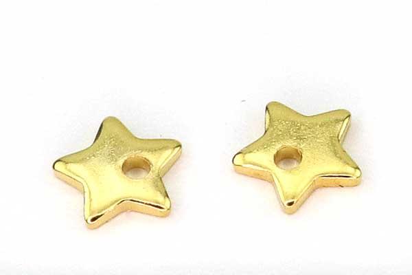 Acrylperler 8 mm rød med sølv stjerner