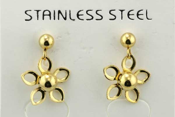 Rustfri stål ørehænger blomst guld