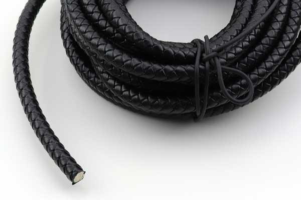 Lædersnøre Flettet sort 8 mm