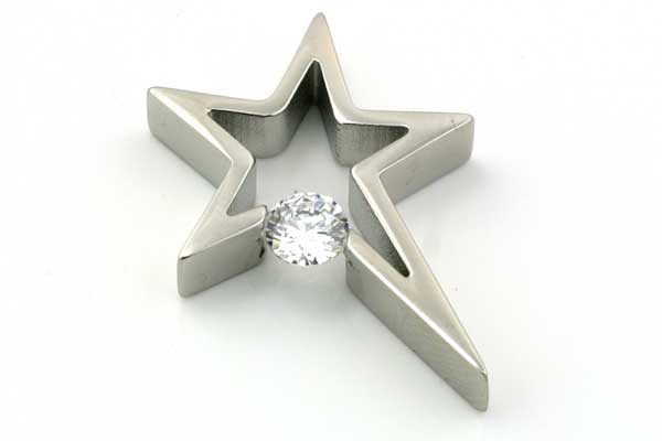 Rustfri stål vedhæng stor stjerne med rhinsten