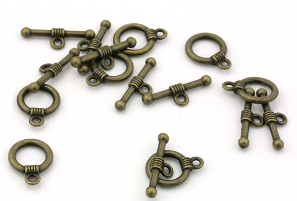 Smykkelås Antik bronce 10 sæt