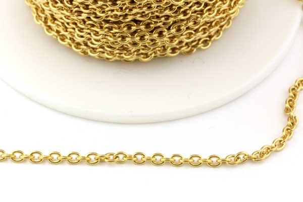 Rustfri stål kæde 3 x 2 mm Guld