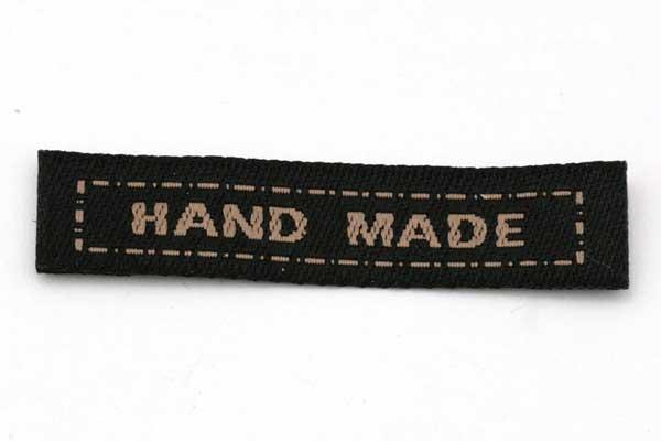 Hand made mærke 40x10 mm Mørk Brun