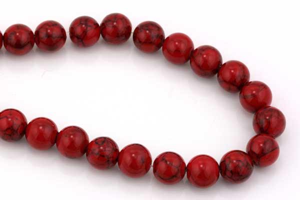 Rød Turkis rund 10 mm