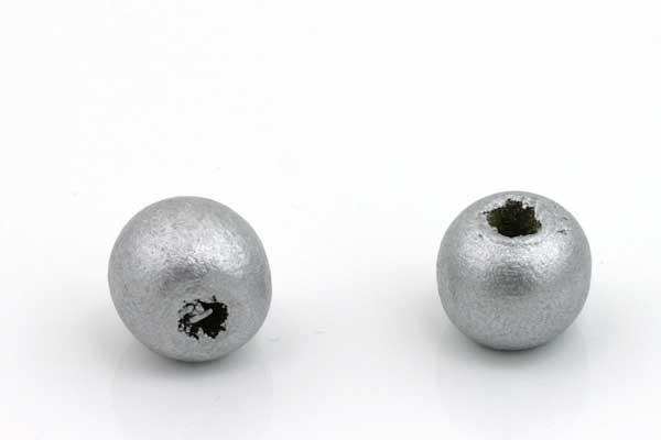 Træperler 10 mm Sølvfarve 20 stk