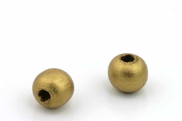 Træperler 10 mm guldfarve 20 stk